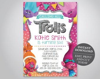 INSTANT DOWNLOAD - Trolls Birthday Invitation, Trolls Invite, Poppy and DJ Invite, Girl Birthday, 6th birthday,