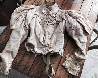 OMG stunning antique PINK victorian boned bodice corset top shabby silk french nordic chic theater costume display amazing!