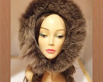 "R-249 Gray Brown Fox Fur Hood Trim Ruff 28"""