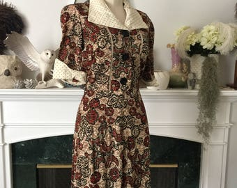 70s Does 40s Silky Nylon Batik Print Day Dress