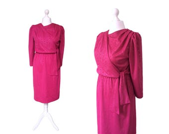 80's Vintage Dress - 1980's Dress - Deep Pink Dress With Wrap Over Bodice