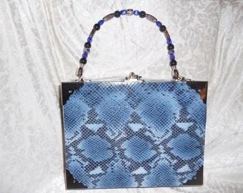Cigarbox Purse, Snakeskin Embossed Blue Print Leather, Tina Marie Purse, Vintage Cigar Box