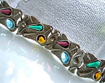 Mid Century Glass Stones Bracelet, Stained Glass Gem Colors, Modern Art Panel Links, Abstract Dimensional Mixed Shapes
