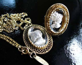 Whiting Davis Clear Glass Reverse Carved Pendant, Adjustable Ring, Womans Profile Signed Pair, Beveled Glass Ovals, Original Chain, Hang Tag