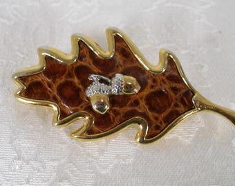 "Oak Leaf Brooch with Gold Tone AcornsAlligator Leather Set in Gold tone Oak Leaf Brooch with Gold Tone Acorns 3"" Autumn"