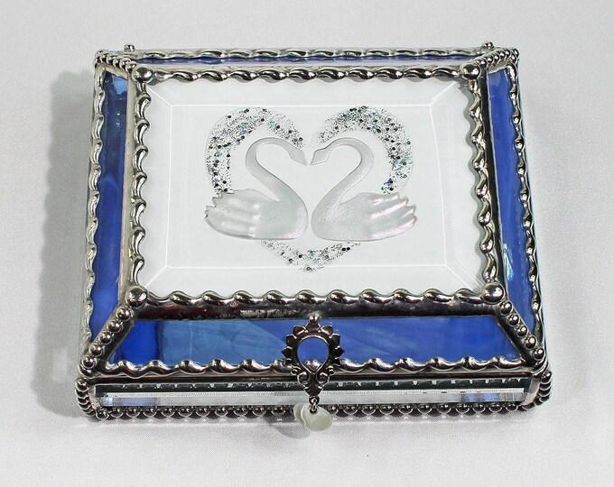 Swan, love, wedding, Treasure Box, stained glass box, stained glass, display box, jewelry box, , souvenir, mystic