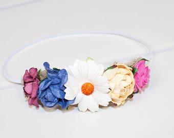 Petal to the Meadow - newborn halo headband in burgundy, royal blue, white, yellow and fuchsia (RTS)