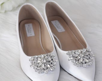 Women Wedding Shoes, Bridesmaid Shoes - WHITE Satin Pointy toe flats with oversized rhinestones brooch