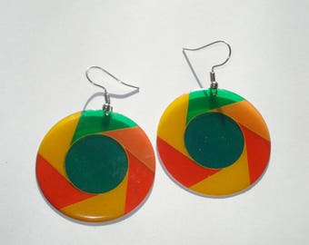 Vintage Large Rainbow Disc Earrings  - Retro Fashion Jewelry Multi Coloured - 1980s