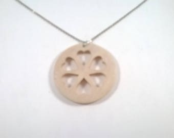 Vintage Wood Necklace - Wooden Round Heart Pendant - Natural Wood Jewellery