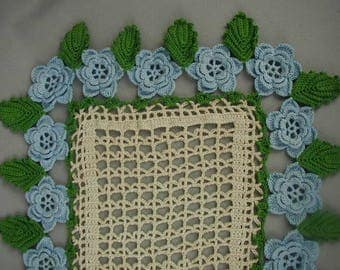 "Vintage Hand Crocheted Doily, Table Topper, Large Size 27 x 12 1/2"", Blue 3-D Flowers, Green Leaves"