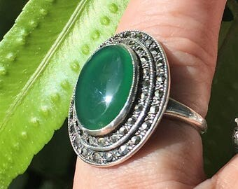 Vintage Sterling Silver Art Deco RingGreen Chrysoprase and Marcasites, Uncas 1920's 1930's Statement Ring SZ 5.5