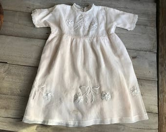 Childs Tulle Lace Dress, Floral Embroidery, Soft Pink Silk