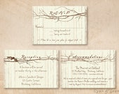 Printable Wedding Enclosure Cards - 3.5x5 - Branch Heart - R.S.V.P. Reception Accommodations - Rustic Woodland Tree Twigs - Brown Tan Ivory