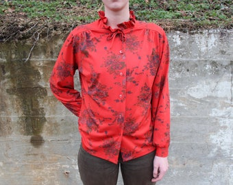 Vintage Red and Floral Print Blouse