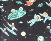 1/2 Yard Cotton Quilting Fabric - Michael Miller Rocket Kids, Little Green Men Black