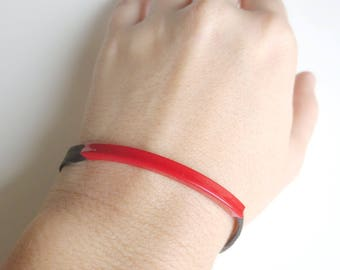 Simple Black and Red Tube Bracelet, Metal and Leather Bracelet, Minimalist Casual Leather Jewelry