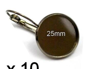10 supports earrings gun metal 25mm cabochon Stud Earrings