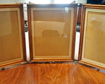 Antique Oak 9x11 Tri Fold Victorian Folding Shaving Mirror Frames Brass  Ball Feet No Mirrors Used