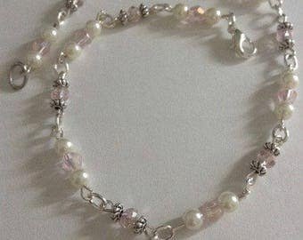 light pink and white anklet