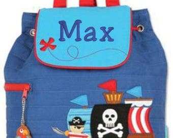 Backpack toddler, Pirate, boy book bag, Stephen Joseph, FREE personalization, Quilted fabric, custom embroidery