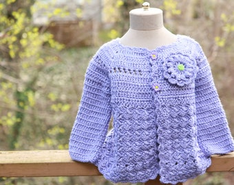 Baby girl Hand Made knitted Button sweater