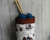 Ships Drawstring knitting project bag, sock project bag, dice bag, Reversible, perfect for knitting, crochet, embroidery, craft projects,