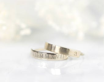 RESERVED FOR MINDY Personalized Bar Ring • Custom Roman Numerals Ring • Engraved Initials Ring •  Gold Name Bar • Gifts for Her