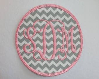 Monogrammed Patch, Initial Patch, Personalized Circle Patch, Name Patch, Monogram, Interlocking Monogram Patch, Monogrammed Iron On Patch