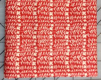 HALF YARD cut of Organic Petit Fleur- Flower Stalks - in Red by Carolyn Gavin - Organic Cotton - 39526