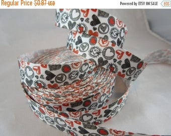Red and Black Heart valentine ribbon, Heart 7/8 inch Ribbon by the yard, RN14702