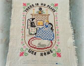 vintage sampler / embroidered sampler / cross stitch sampler / there is no place like home / vintage linen textile / needlework / unframed