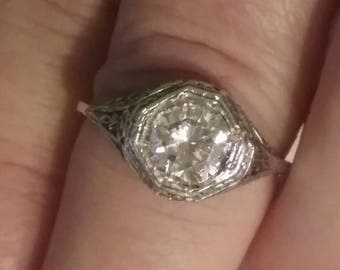 Private Listing for B- Antique Style Filigree Engagement Ring