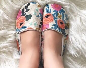 Women's Linen Floral Lounge Shoe Slippers