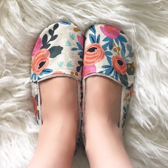 Women's Linen Floral Lounge Shoe Slippers