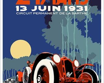 Art deco Alfa Romeo Le Mans 1931 poster