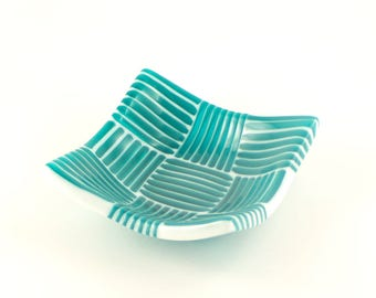 Unique Glass Bowl, Coin, Candy or Trinket Dish, Fused Glass, Teal Kitchen Decorations, Modern Stripes, Gifts for Home Chefs
