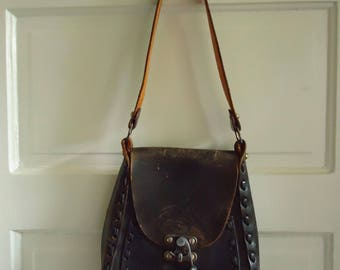 Vintage 60s/70s HANDTOOLED LEATHER Hippie Purse