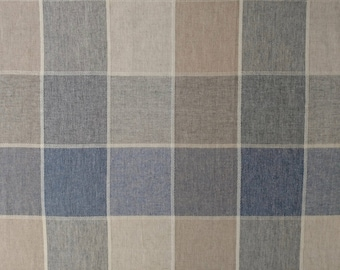 Blue and Beige Plaid Wool Blend Tablecloth 52 inches SQUARE