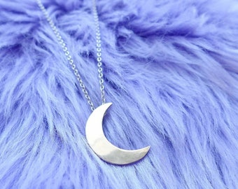 Waxing Crescent Moon Necklace Brass or Sterling Silver