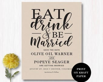 Eat Drink and Be Married Save the Date Cards or Magnets - Modern Save the Date Wedding Invitation Custom save the date magnets