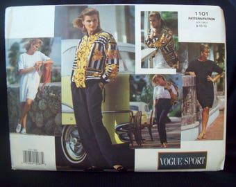 Vogue Sport Pattern 1101 Loose Fit Jacket, Dress, Top, Shorts and Pants Uncut Pattern Sizes 8, 10, 12
