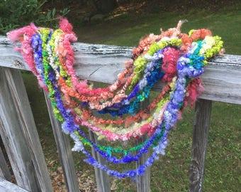 Handspun Yarn, Art Yarn, Lockspun, BFL, Coily Ply, Lambswool, Wool, Bulky, 2 Ply, Curly, Rainbow in Chains