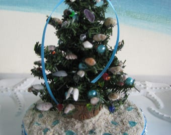 Tabletop Desktop Seashell Christmas Tree on a Beach~Seashell Christmas Tree