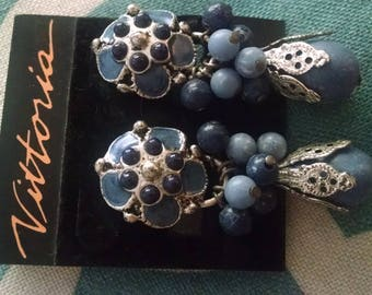 Earrings Vintage Clipback Enameled Silver Plated Metal Beads, long, Boho Chic, Comfort Backs New Old  Stock