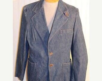 50% Off Sale Retro Vintage 70's Denim Blazer Jacket Sport Coat Hipster Wrapid Transit By Wrangler Disco SZ 40R