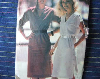 vintage 1980s Butterick see and sew sewing pattern 6878 misses dress sizes S-M-L