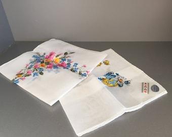 Swiss Kreier Handkerchief, 2 Unused Swiss Hankies, Cotton Handkerchief, Flower Printed Swiss hankies, NOS,
