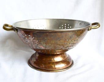 Vintage copper colander with brass handles…copper strainer…rustic...unique patina.