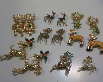 Thirteen (13) Vintage Christmas Candle Reindeer Brooches (737) Five Sets
